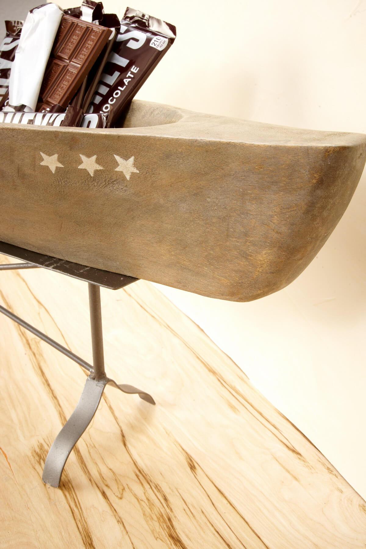 Carved Wood Canoe On Stand 29 5 Mango Wood