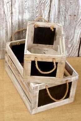"2 Chalkboard Crates  Rope Handles 10"" & 13"""