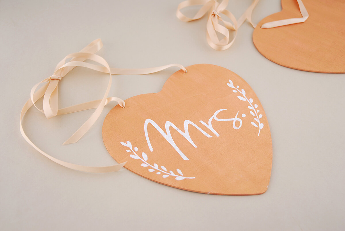 "Handmade Wood Heart  Wedding Chair Sign ""Mrs"" 8.5in"