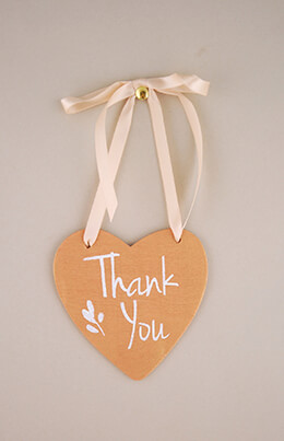 Wood Heart Sign Thank You 4.5in