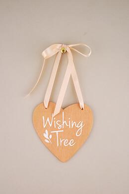 Wood Heart Sign Wishing Tree 4.5in