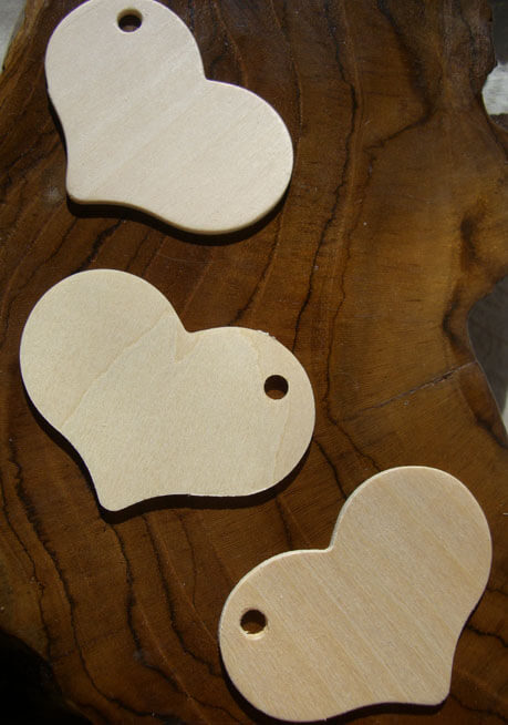 Wood Heart Tags