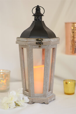 Tall Wood Lantern with LED Candle 17.25in