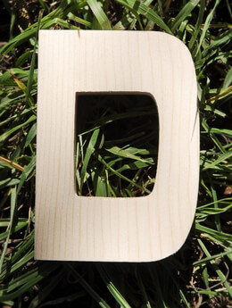 Wood Letter D - 4in Pine