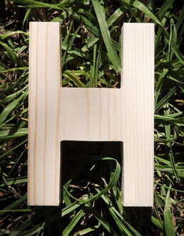 Wood Letter H - 4 inch Pine Letters