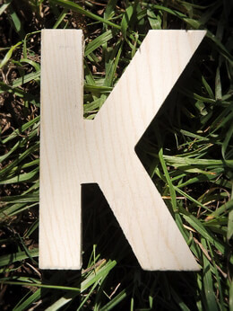 Wood Letter K - 4 inch Pine Letters