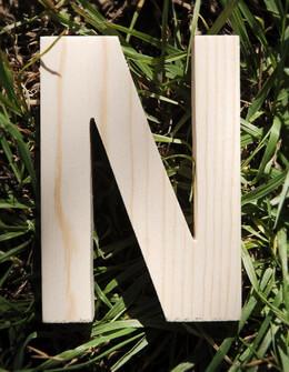 Wood Letter N - 4in Pine