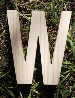 Wood Letter W - 4 inch Pine Letter