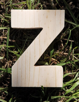Wood Letter Z - Pine 4in