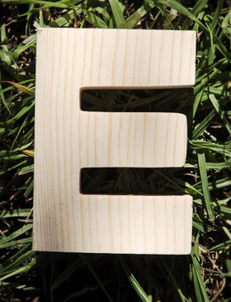 Wood Letters E Pine 4 inch Letters