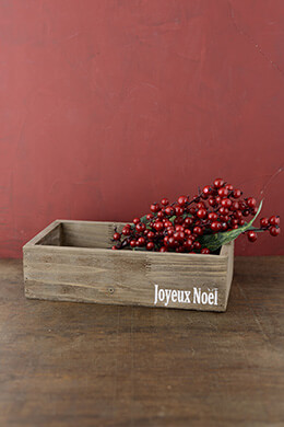 "Wood Planter Box ""joyeus noel"" 11x6"