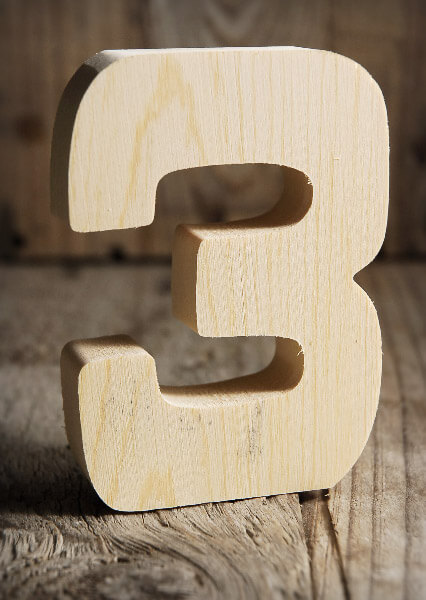 Number 3 Wood Sign 4in