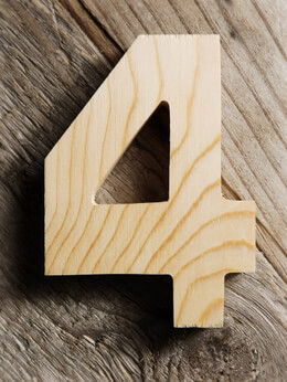 4 Inch Wood Number 4