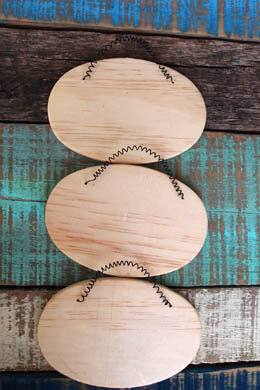 3 Oval Wood Signs with Wire Hangers 5-1/4 inches  Wood Crafts