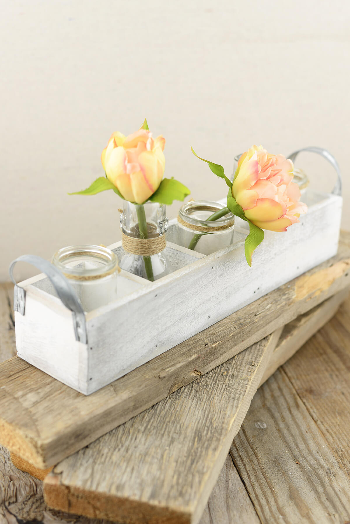White Wood Box  with 5 Glass Bottles with Handles 13in