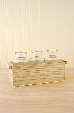 3 Glass Bottle Vases in Wood Box  10""