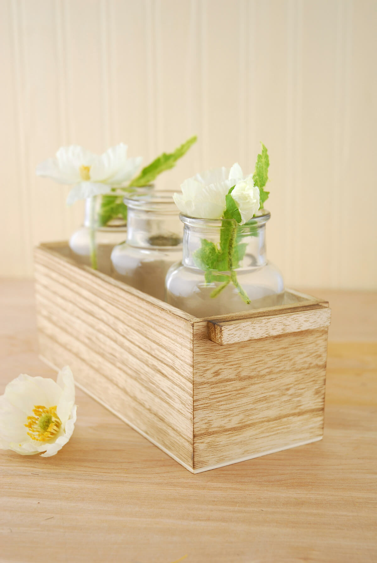 3 Glass Bottle Vases In Wood Box 10 Quot