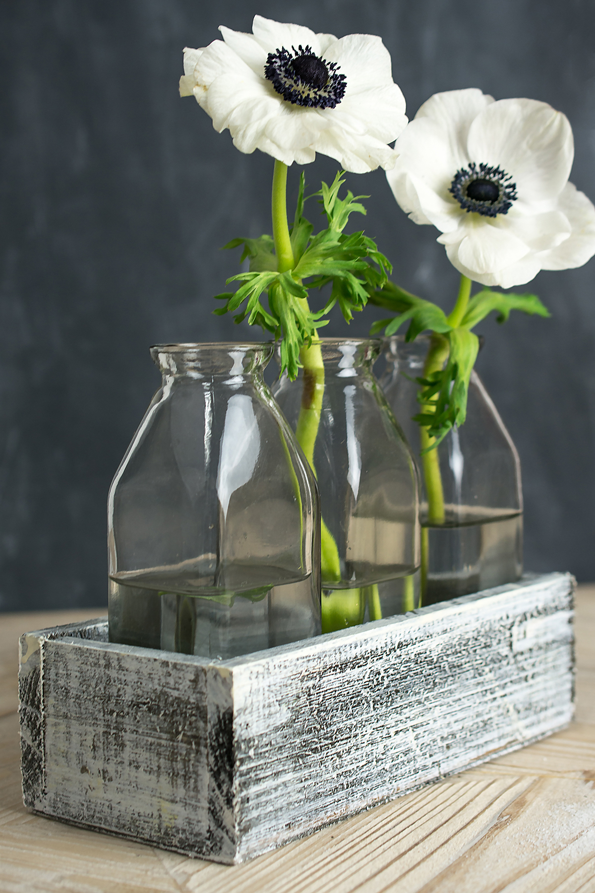 White Washed Wood Crate with 3 Milk Bottles