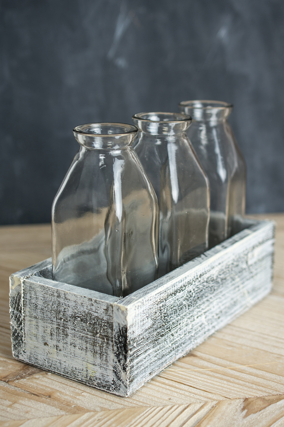 White Washed Crate with 3 Milk Bottles
