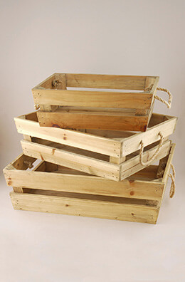 Set of 3 Crates with Rope Handles
