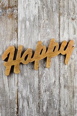 "Wood Cutout ""Happy"" Wall Decor 25"""