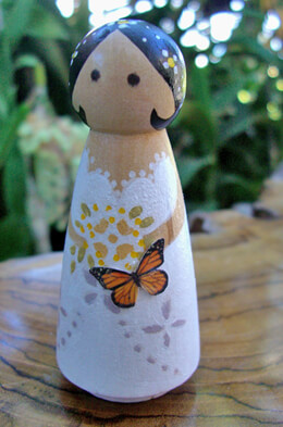 Hand Painted Wedding Cake Topper  Butterfly Bride