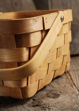 Natural Chipwood Basket with Swing Handle & Liner 8x6  Flower Girl Basket