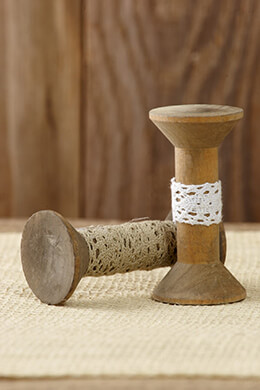 "10 Wood 3"" Decorative Spools with Lace"