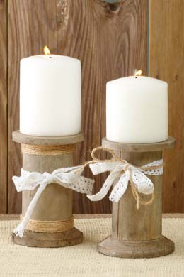 Wood Spool Candleholders  5in