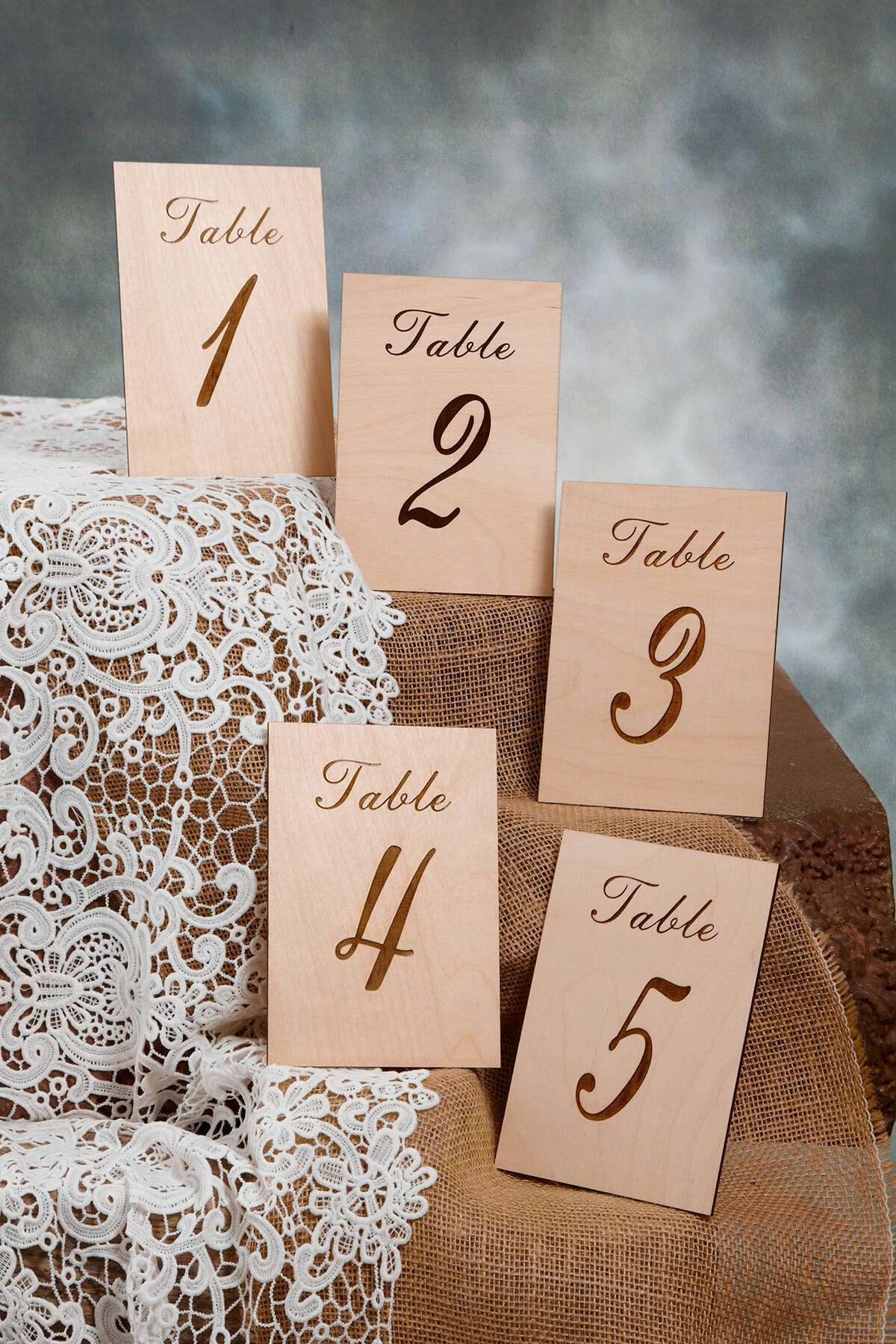 Wood Table Numbers 1 5