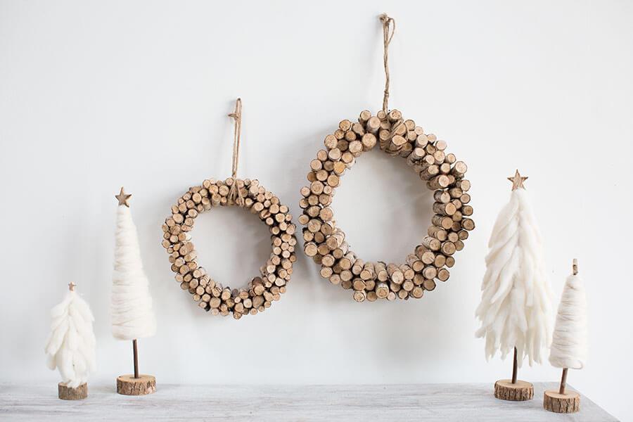 "Natural Birch Peg Wreath 12"""