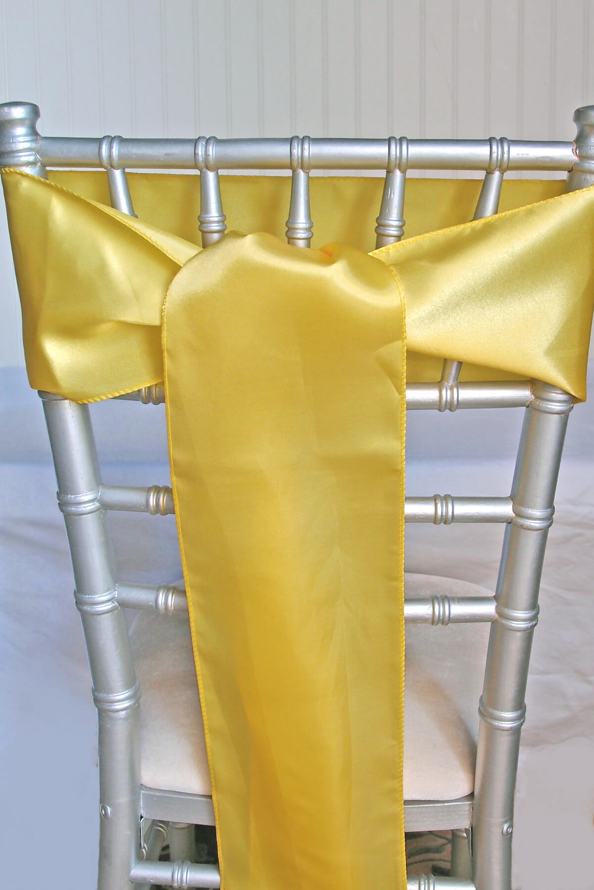 Yellow Satin Chair Sashes 6x108