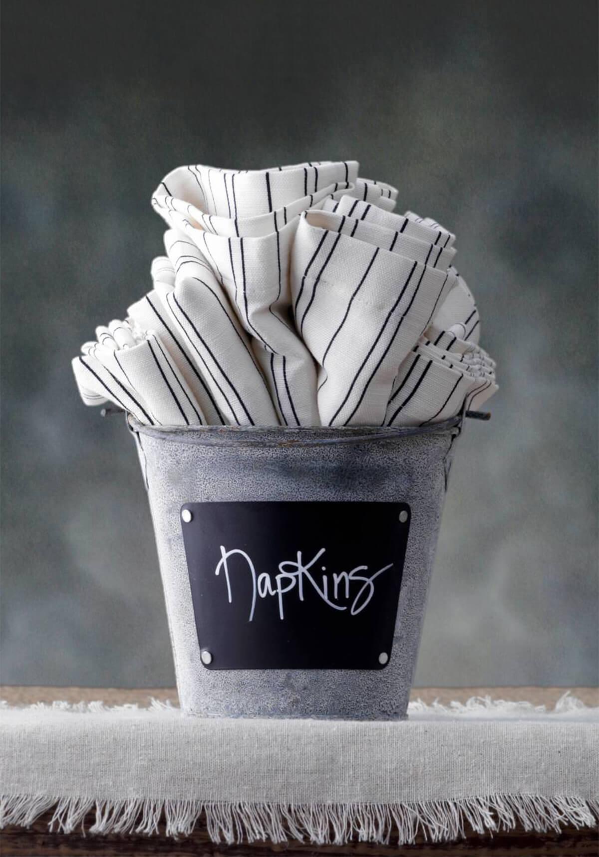 Zinc Bucket With Chalkboard Label 4 5in