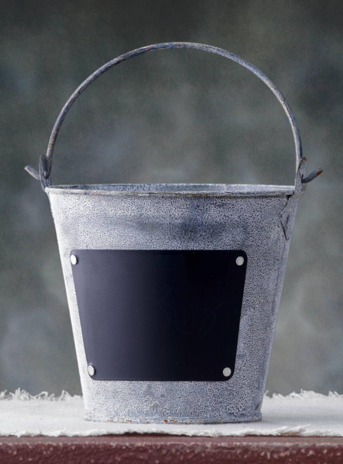 Zinc Bucket With Chalkboard Label 4 5in